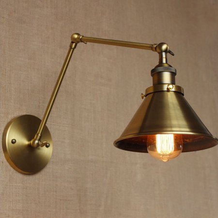 Retro Industrial Light Lamp E26/E27 Brass Swing Arm Wall Sconce Light Fixture Lamp Shade Loft Home Decor Gift