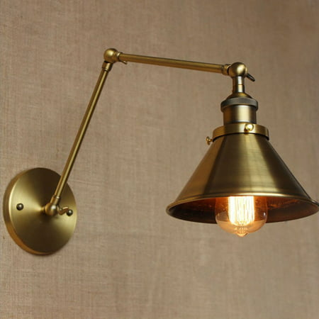 Retro Industrial Wall Loft Light Fixture Lamp E26/E27 Brass Swing Arm Sconce Light Lamp Shade Home Decor Gift