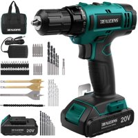 Cordless Power Drill and Home Tool Kit, Set with 3/8 Inches Keyless Chuck 61 Pcs Screwdriver Bits, 20V Cordless Drill Driver with 2000mAh Lithium-ion Battery, 21+1 Torque Setting and Variable Speed