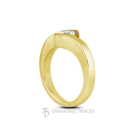 0.75ct F-SI1 Ideal Cut Princess Certified Diamond 14k Gold Twist Band Ring (Certified Diamond Band Ring)