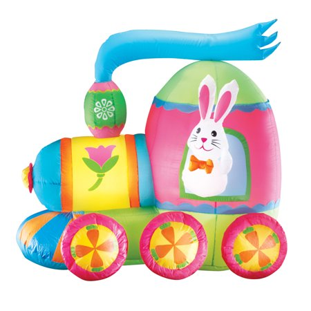 Inflatable Easter Bunny Train Outdoor Yard Decoration - 4' Long