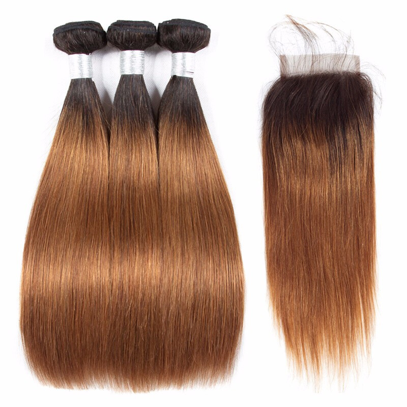 """HCDIVA Brazilian Ombre Hair Straight 3 Bundles with Lace Closure Middle Part Dark Roots 1b/30, 10""""10""""10"""" with 10"""""""