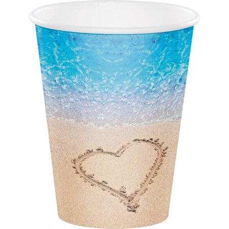 Creative Converting Beach Love Hot/Cold Paper Paper Cups 12 Oz., 8 ct](Beach Cups)