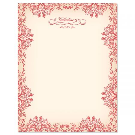 "Vintage Valentines Letter Papers - Set of 25 Valentine'stationery papers are 8 1/2"" x 11"", compatible computer paper, great for Weddings Announcements, Anniversary Invitations, Valentine's Day Party"