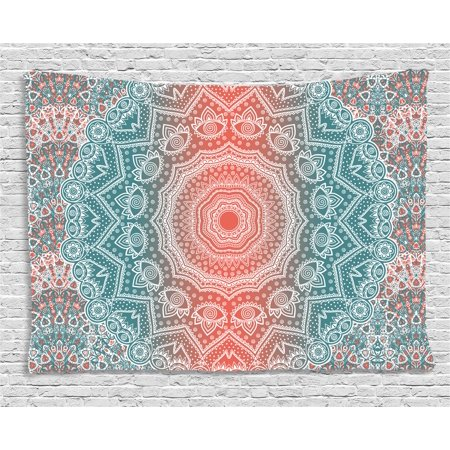 Coral and Teal Tapestry, Modern Tribal Mandala Tibetan Healing Motif with Floral Geometric Ombre Art, Wall Hanging for Bedroom Living Room Dorm Decor, 60W X 40L Inches, Coral Teal, by Ambesonne ()