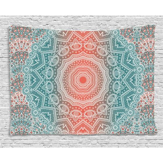 Coral and Teal Tapestry, Modern Tribal Mandala Tibetan Healing Motif ...