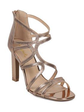b09c26d49d Product Image New Women Qupid Hurst09 Embossed Metallic Open Toe Strappy  Caged Stiletto Sandal