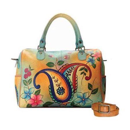 Women's ANNA by Anuschka Hand Painted Large Satchel 8067  12.5