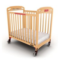 Child Craft Safe Haven Professional Series Evacuation Compact Portable Mini Crib with Mattress, Natural
