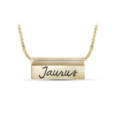 - What's Your Sign? Gold over Silver Taurus Engraved Zodiac Nameplate Necklace