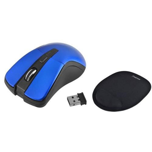 Insten Wireless Mouse for Computer Blue 2.4G 4 Keys with DPI 1600 + Wrist Rest Mouse Pad with Wrist Support Computer Laptop Desktop PC