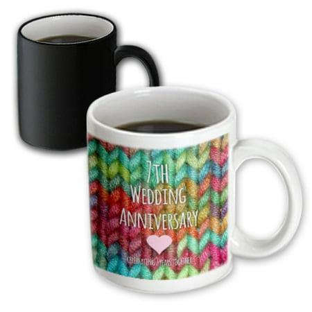 3dRose 7th Wedding Anniversary gift - Wool celebrating 7 years together - seventh anniversaries rainbow, Magic Transforming Mug,