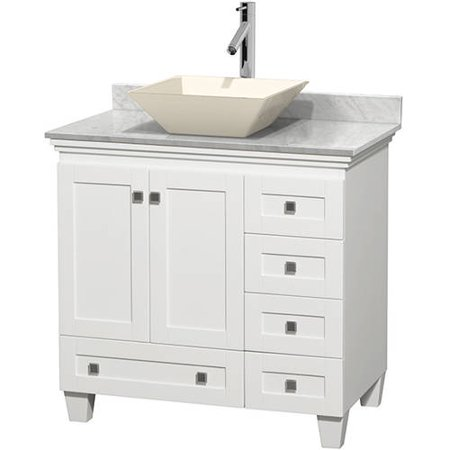 Wyndham Collection Acclaim 36 inch Single Bathroom Vanity in White, White Carrera Marble Countertop, Pyra Bone Porcelain Sink, and No