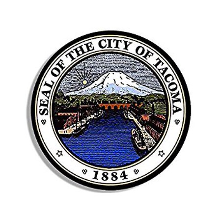 Round City of TACOMA Seal Sticker Decal (washington wash wa logo) Size: 4 x 4 inch