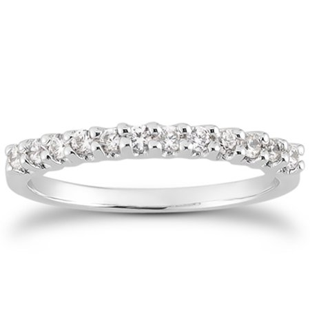 14k White Gold Fancy U Setting Shared Prong Diamond Wedding Ring Band