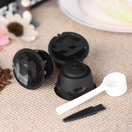 3pcs/set Coffee Capsule Dolce Gusto Coffee Filter Reusable Dolce Gusto Coffee Capsule with Spoon and Brush (Dolce Gusto Coffee Premier Life)