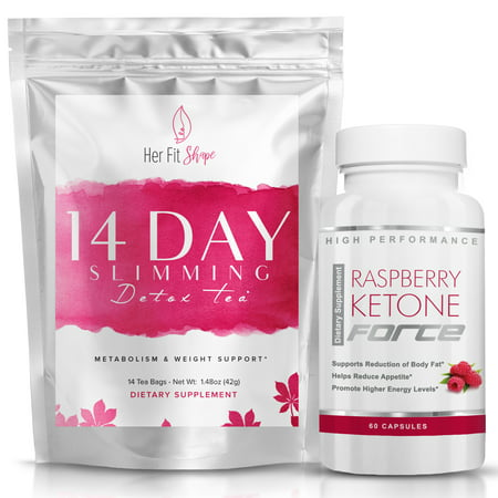 Raspberry Ketone Force and Her Fit Shape 14 Day Detox Tea Bundle -- Natural Weight Loss Supplement and Tea Cleanse to Lose Weight - Improve Energy - Reduce Belly Fat and Bloating (2