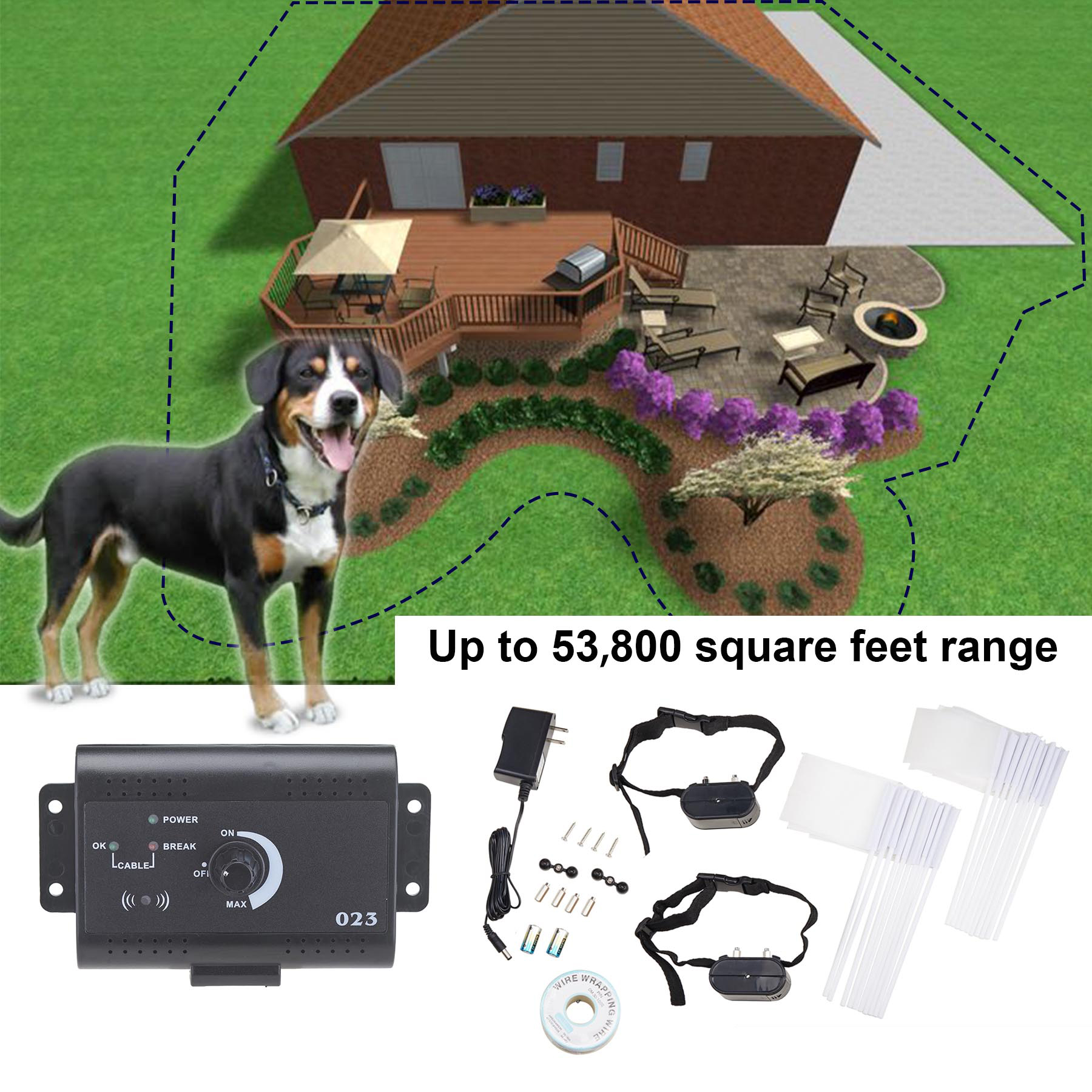Underground Waterproof Electric Dog Fence System 2 Shock Collars for 2 Dogs by Pinty
