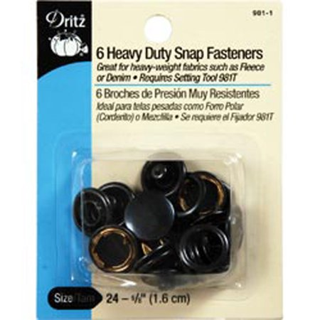 Black - Heavy-Duty Snap Fasteners 5/8