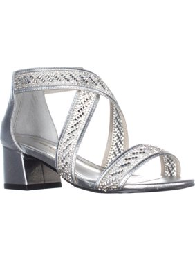 Womens Caparros Imagine Kitten Heel Sandals, Silver, 5.5 US