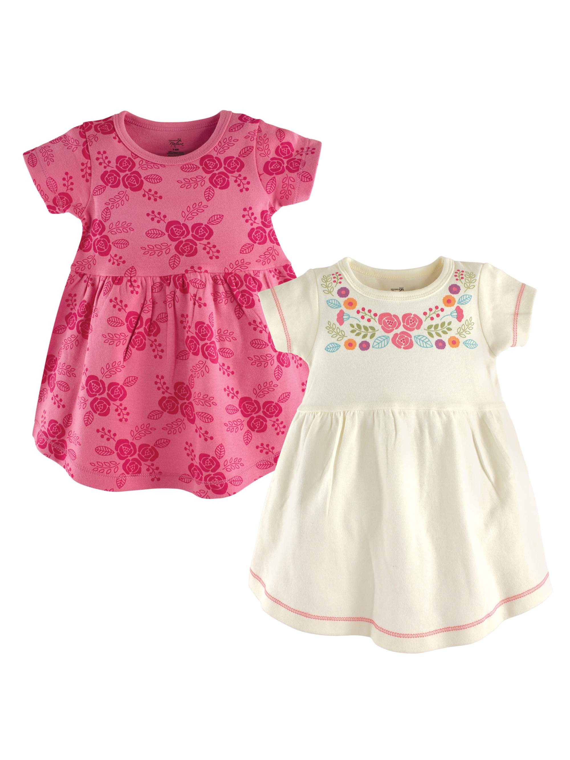 Touched By Nature Girl Toddler Organic Cotton Dresses Pink Botanical Long Sleev