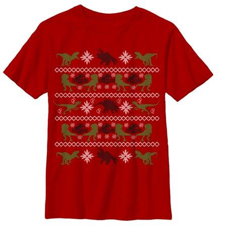 Jurassic World Velociraptor Ugly Christmas Sweater Boys Graphic T Shirt](Boys Ugly Christmas Sweater)