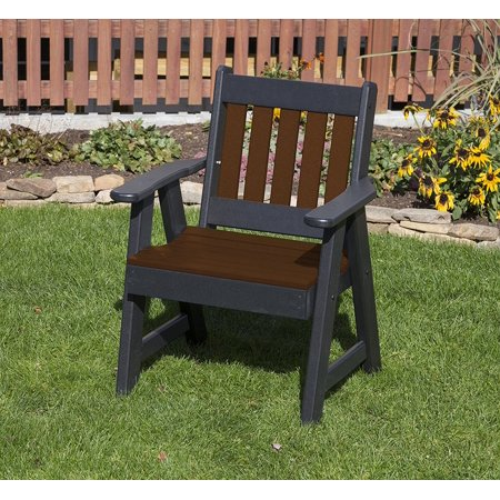 Outdoor Patio Garden Lawn Exterior Tudor Brown Finish 2 Ft Poly Lumber Mission Heavy Duty Everlasting Amish Crafted Chair ()