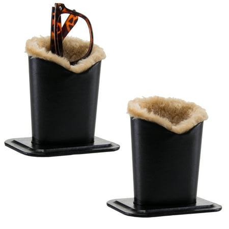 Smart Essentials 2 Pack Black Upright Eyeglasses Holder Stand Soft Plush Lining Case Rest For Desktop Car - Needlepoint Eyeglass Case