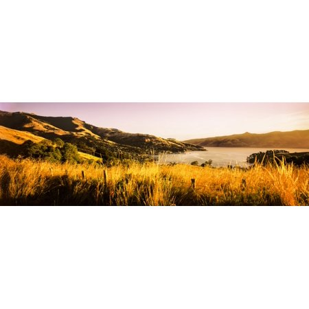View Of Akaroa Harbour Banks Peninsula South Island New Zealand Poster Print