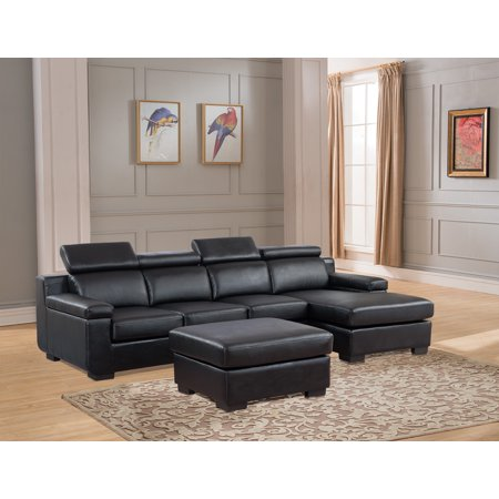 Sectional Sofa Black Color Chaise Two Seat Sofa Ottoman Footrest Unique  Headrest Living Room Furniture Set Sectionals