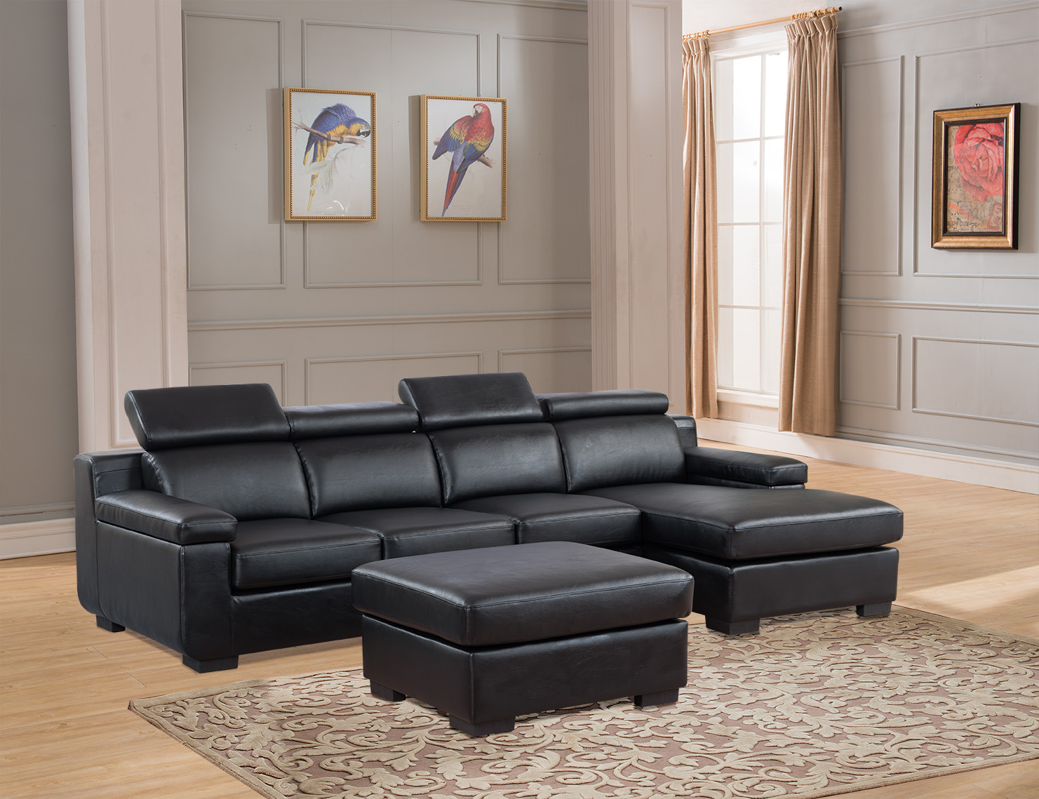 Sectional Sofa Black Color Chaise Two Seat Sofa Ottoman Footrest Unique Headrest Living Room Furniture Set  sc 1 st  Walmart : chaise with ottoman - Sectionals, Sofas & Couches