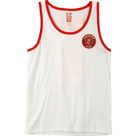 fc3eaafde84afe Rolling Stones - Rolling Stones Men s Zip Tongue Contrast Ringer White Mens  Tank White - Walmart.com
