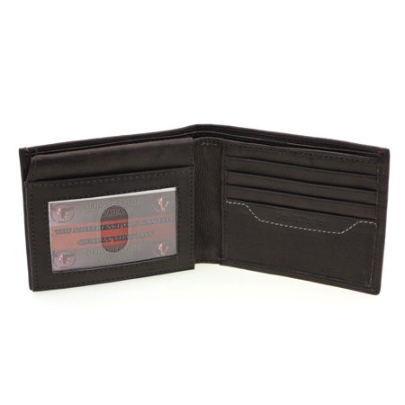 Mens Bifold Wallet Genuine Leather Flap Up Double Stitching 12 Card Slots 1 ID