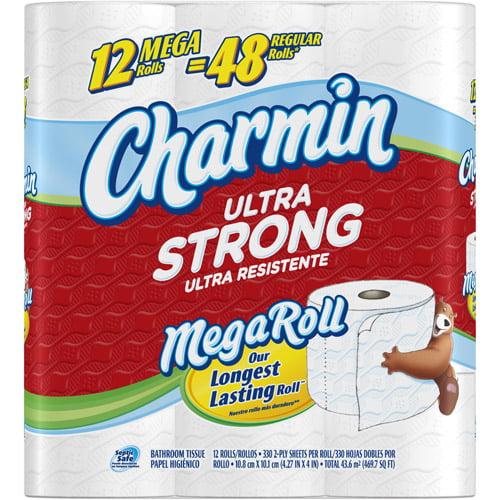 Charmin Ultra Strong Mega Roll Toilet Paper, 352 sheets, 12 Rolls