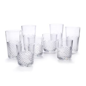 Cupture Diamond Plastic Tumblers, 24 oz | 14 oz, 8-Pack (Clear)