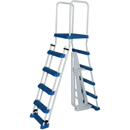 52-in A-Frame Ladder w/ Safety Barrier and Removable Steps for Above Ground Pools Above Ground Pool Safety