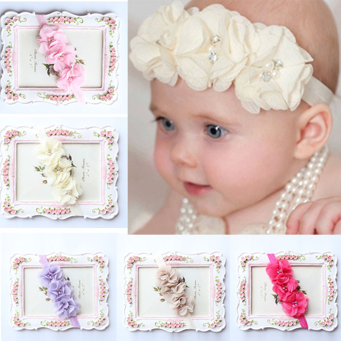 5PC Babys Girls Elastic Headband Chiffon Flower Photography Headbands