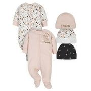 Gerber Baby Girl Organic Sleep 'N Play Pajamas and Caps Bundle, 5-Piece