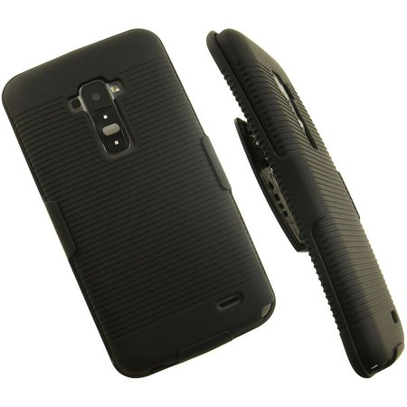 NAKEDCELLPHONE'S BLACK RUBBERIZED HARD CASE + BELT CLIP HOLSTER STAND FOR LG G FLEX GFLEX PHONE (Sprint, AT&T, Sprint, T-Mobile, Unlocked, F340, D955, D958, D959, F340s, D950, LS995, -