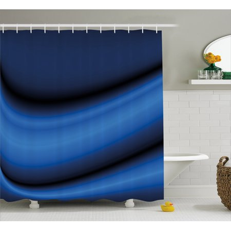 Dark Blue Shower Curtain, Abstract Wavy Curvy Bold Color Bands Soft Blurred Digital Ombre, Fabric Bathroom Set with Hooks, Dark Blue Pale Blue Black, by Ambesonne ()