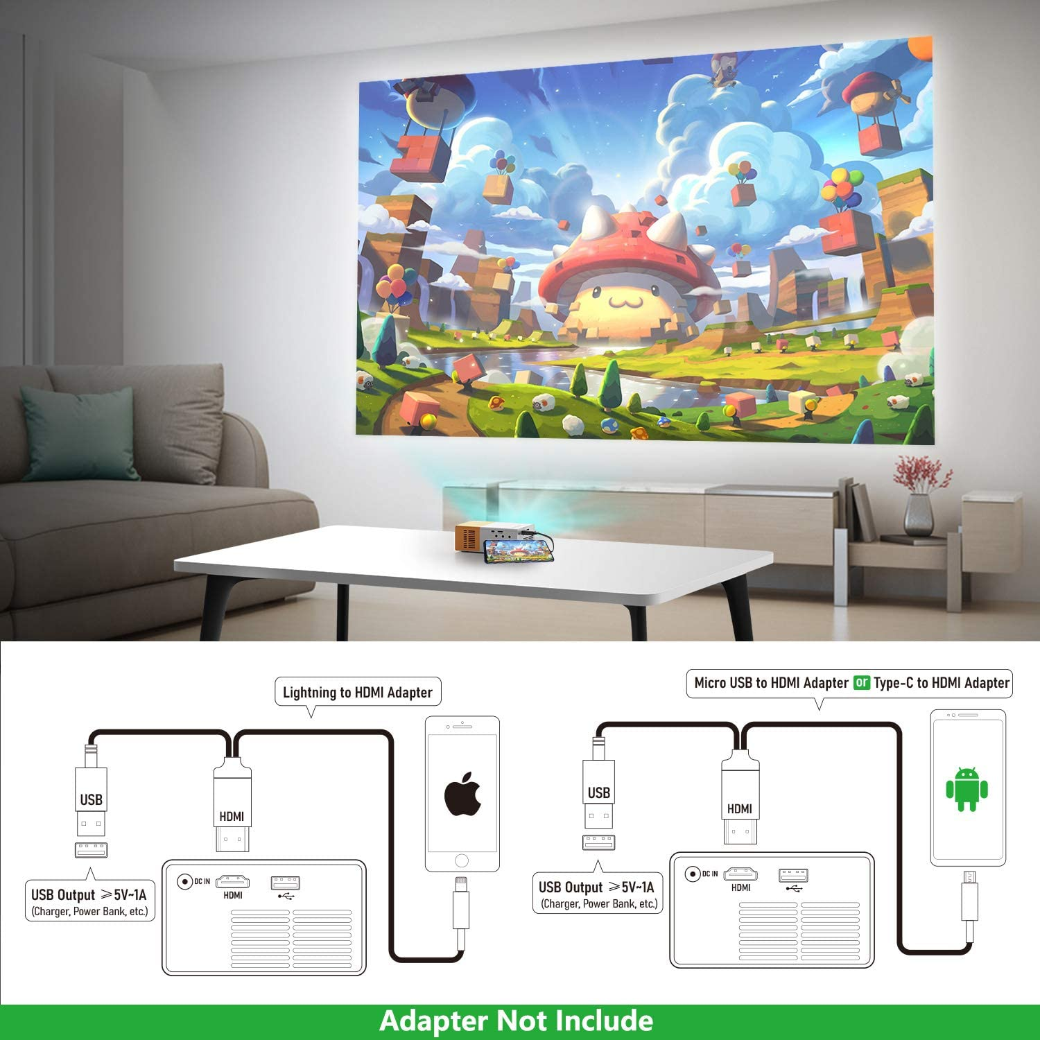 Outdoor Entertainment with HDMI USB TF AV Interfaces and Remote Control PVO Portable Projector Pico Full Color LED Video Projector for Cartoon TV Movie Projector Kids Gift Movie Mini Projector