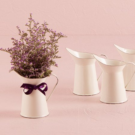 White Pitcher (Small White Enamelware Pitcher Wedding Favors)