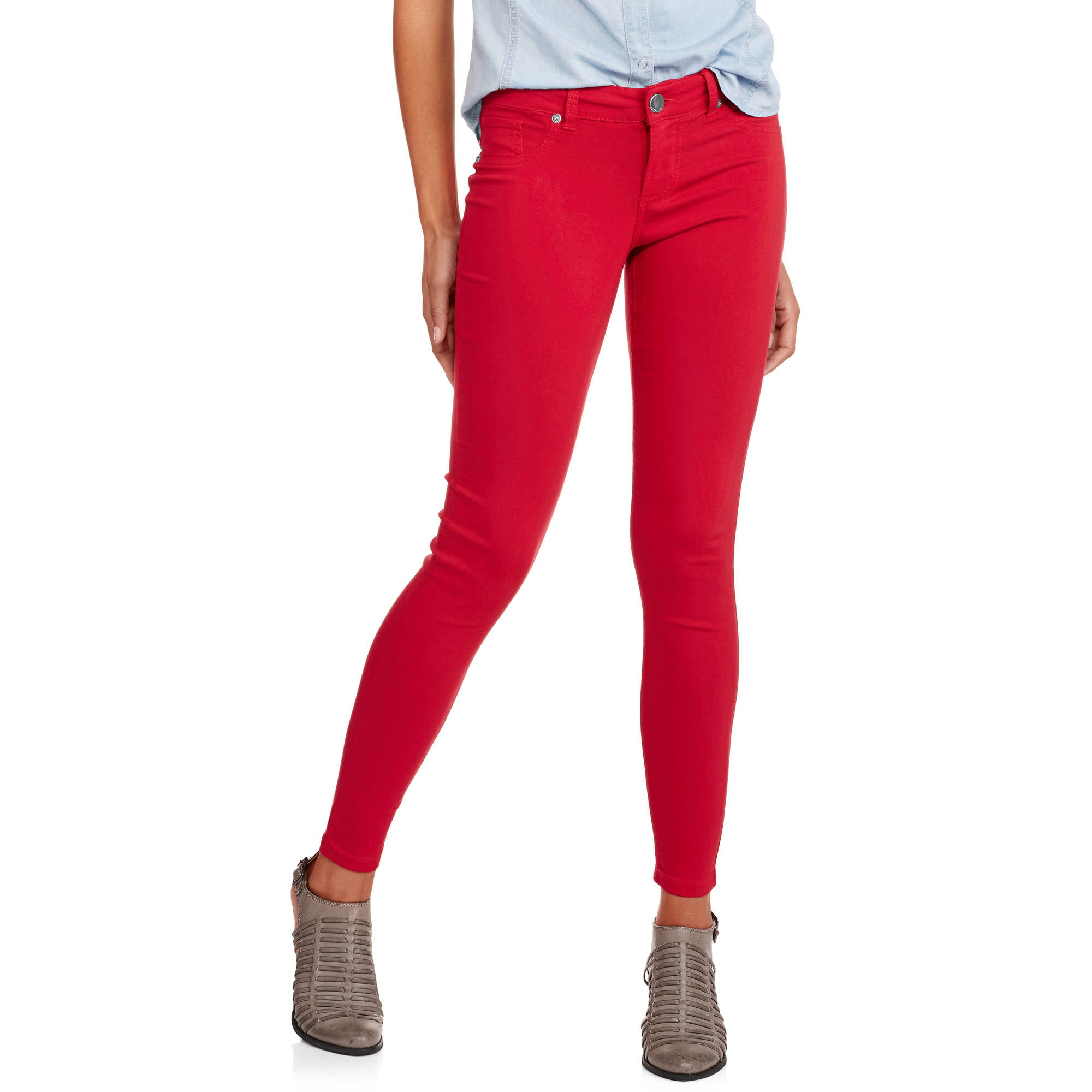 No Boundaries Juniors' Super Stretch Colored Skinny Jeans ...