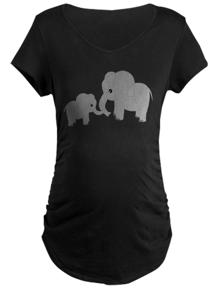 CafePress - Cute Elephants Mom And Baby Maternity T-Shirt - Maternity Dark T-Shirt