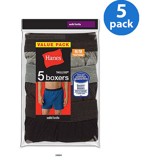 Hanes Big Men's FreshIQ Comfort Flex Waistband Knit Boxer 5-Pack