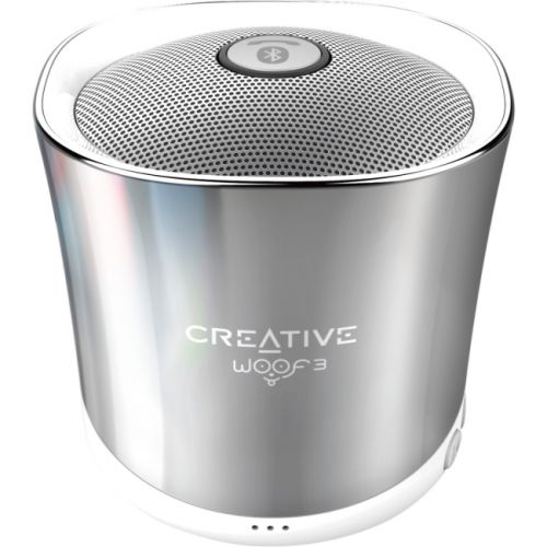 Creative Woof3 Speaker System - Portable - Battery Rechargeable - Wireless Speaker(s) - Chrome
