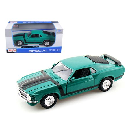 1970 Ford Mustang Boss 302 Green 1/24 Diecast Model Car by Maisto 18 1970 Ford Mustang Boss