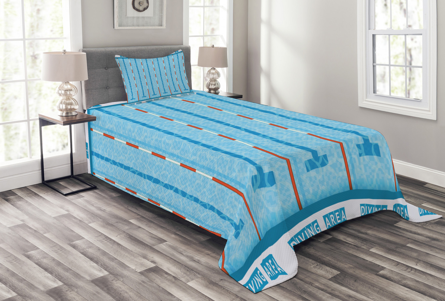Blue Bedspread Sports Competition Theme Swimming Pool With Lanes Aquatic Pictogram Image Decorative Quilted 2 Piece Coverlet Set With Pillow Sham Twin Size Aqua Red And White By Ambesonne Walmart Com