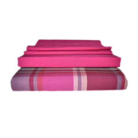 Percale Bedding Fitted Sheets (Just Linen 300 Thread Count 100% Cotton Percale, Coordinated Bedding Sheet Set with Deep Pocketed Fitted Sheets (european King, Fuchsia))