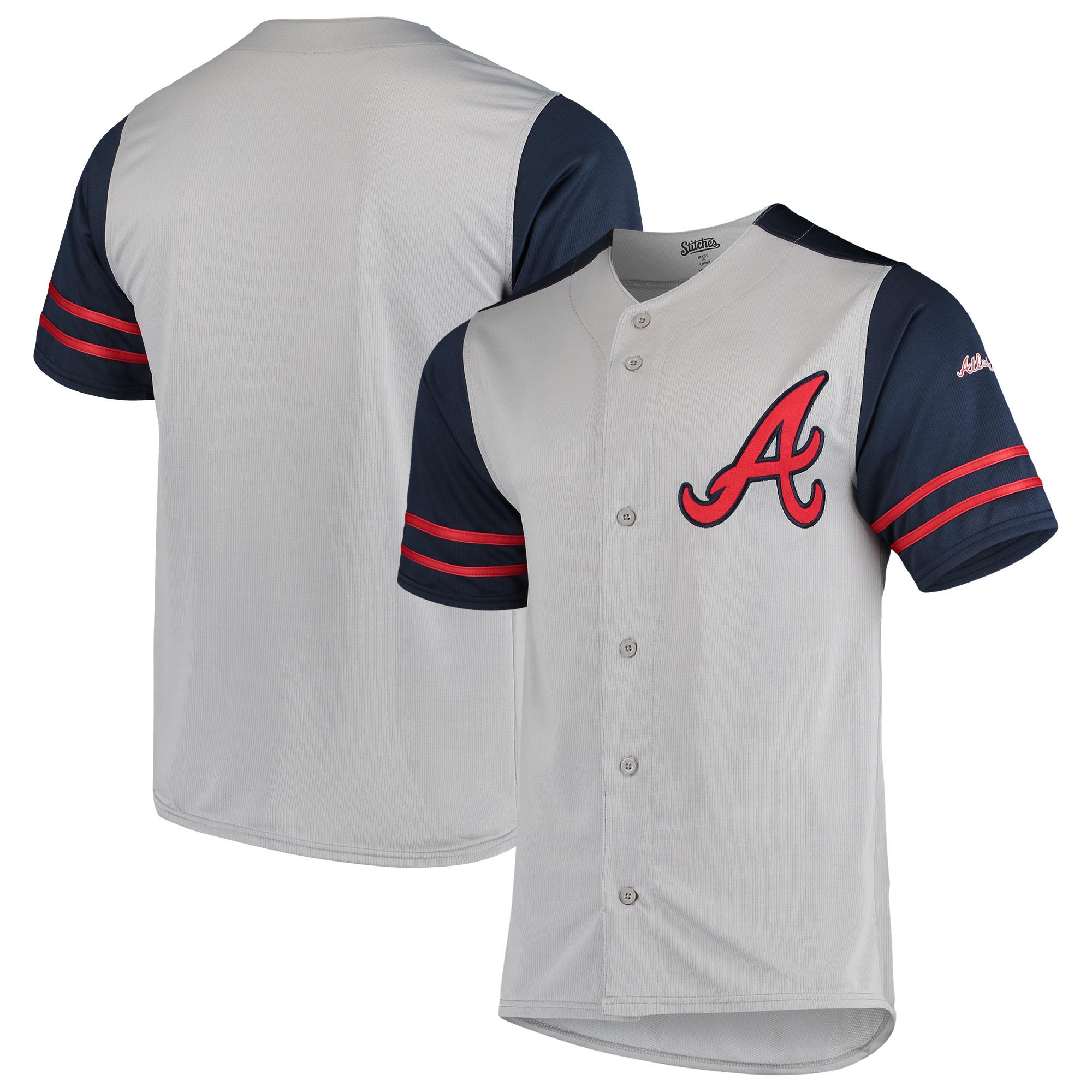 Atlanta Braves Stitches Button-Up Jersey - Gray/Navy